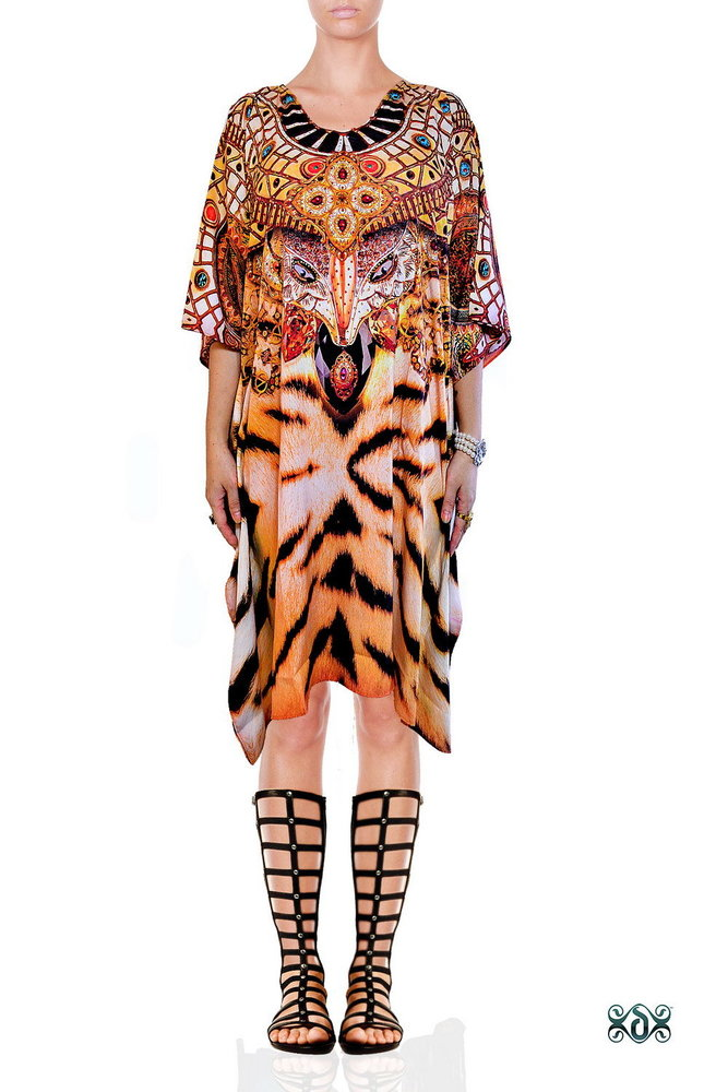 Digital Print Luxury Short Silk Beachwear Kaftan