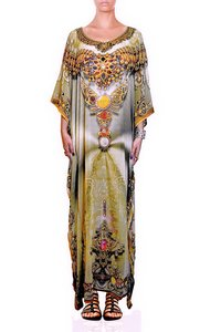 Digital Print Long Embellished Kaftan