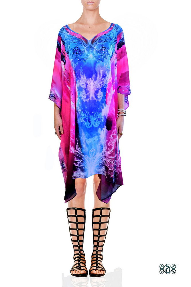 Digital Print Beach Cover ups Short Kaftan