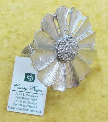 meatl flower silverplated Napkin Ring