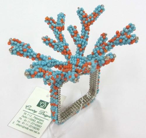glass beaded coral design Napkin Ring