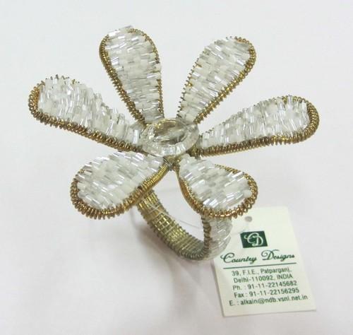 glass beded flower Napkin Ring