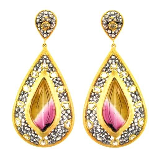 14k Yellow Gold Ethnic Designer Daimond Carving Earrings