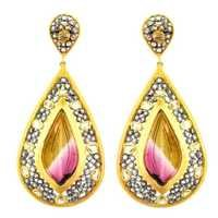 14k Yellow Gold Ethnic Designer Daimond Carving Earrings