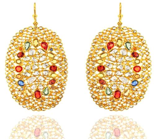 18k Solid Gold Multi Stone Diamond Earrings