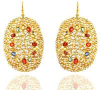 18k Solid Gold Multi Stone Diamond Earrings