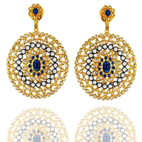 Round Shape Yellow Gold Blue Sapphire & Moonstone Diamond Silver Earrings