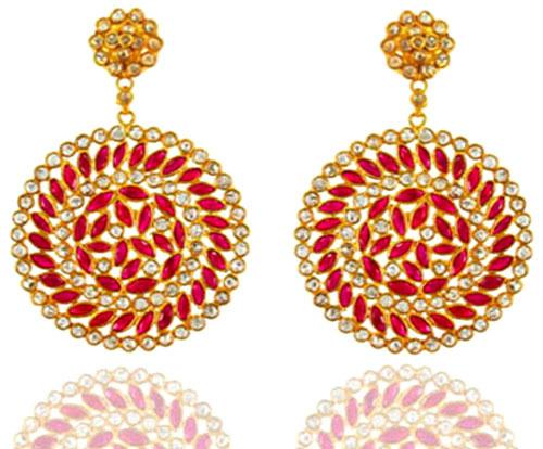 18k Yellow Gold Round Shape Diamond Pink Tourmaline Earrings