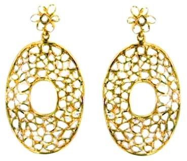 14k Yellow Gold Diamond Designer Earrings