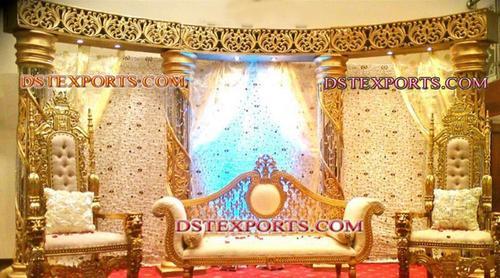 INDIAN WEDDING GOLD CRYSTAL STAGE SET