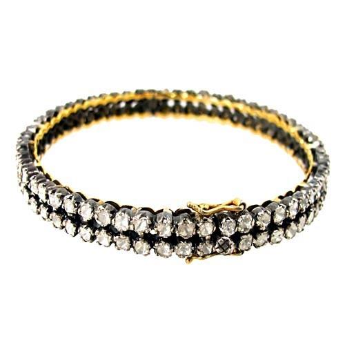 14k Yellow Gold Diamond Silver Wedding Bangle