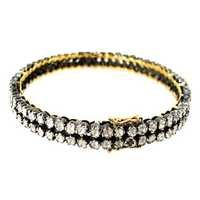 14k Yellow Gold Diamond Silver Wedding Bangle