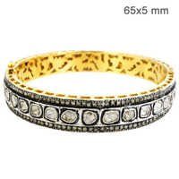 Gold Rose Cut Diamond Bangle