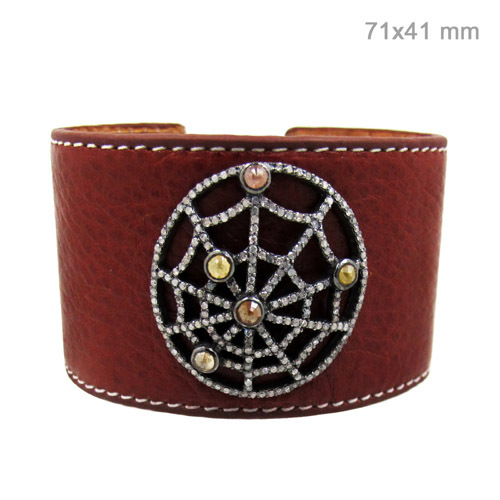 Leather Diamond Silver Bangle