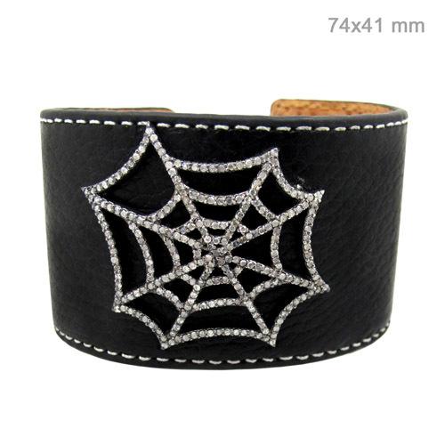 Black Leather Spider Diamond Silver Bangle