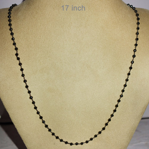 Black Spinel Beaded Silver Necklace Jewelry
