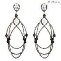 Pave Diamond Moonstone Sapphire Gemstone Earrings