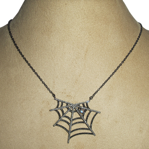 Moonstone Spider Web Silver Pave Diamond Necklace