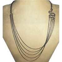 Multi Layer Diamond Silver Snake Side Necklace