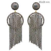 Diamond Silver Chain Chandelier Earrings