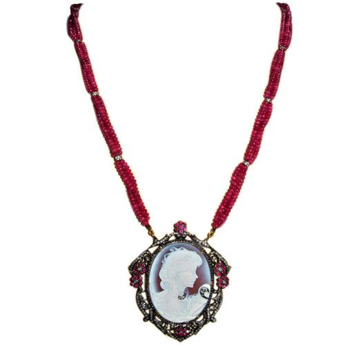 Lady Victorian Ruby Beaded Diamond Cameo Necklace