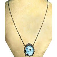 Gemstone Beads Cameo Lady Victorian Necklace