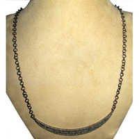 Silver Blue Sapphire Diamond Necklace Jewelry