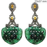 Diamond Gemstone Carving Earrings Jewelry