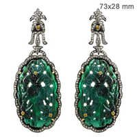 Diamond Pave Emerald Carving Earrings