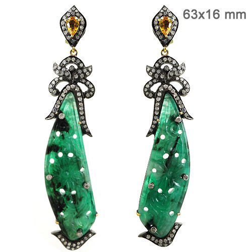 Diamond Emerald Carving Earrings