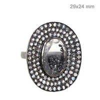 Crystal Rainbow Moonstone Silver Diamond Studded Vintage Ring