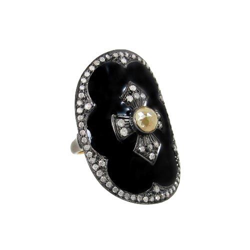 Enamel Diamond Studded Silver Fashionable Gold Ring