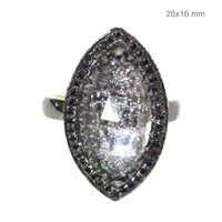 Crystal Diamond Studded Gold Ring