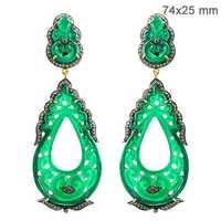 Gemstone Onyx Carving Diamond Earrings