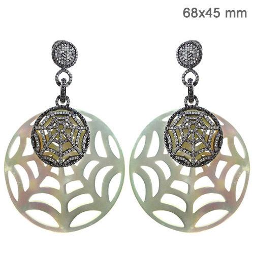 Silver Gold Diamond Pearl Spider Web Earrings