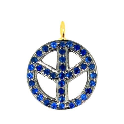 Gold Blue Sapphire Silver Peace Pendant
