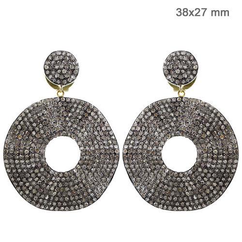 Natural Diamond Pave Dangle Earrings
