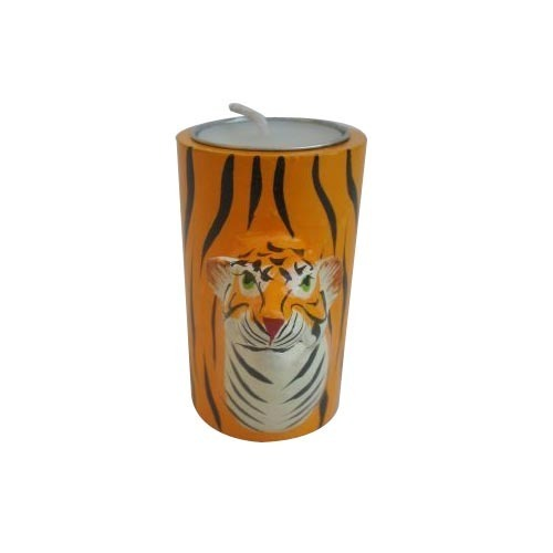 India Tiger Face T-Light Holder