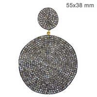 Sterling Silver Gold Pave Diamond Pendant