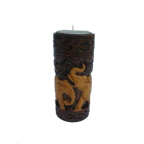 wooden half oxidized finish tea light holder