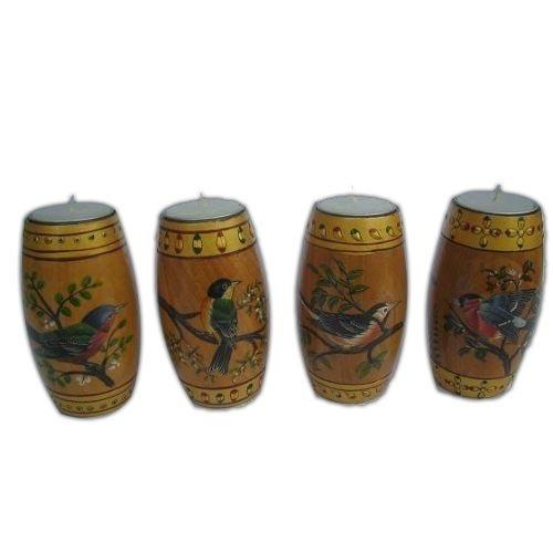 Wooden Miniature hand painted birds tea lights