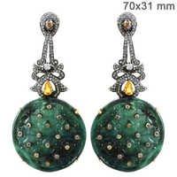 Diamond Gold Gemstone Carving Earrings