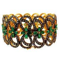 Emerald Gemstone Diamond Openable Bracelet