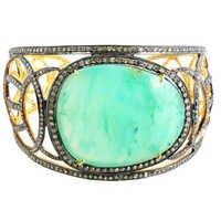 14k Gold Diamond Gemstone Vintage Bracelet Bangle