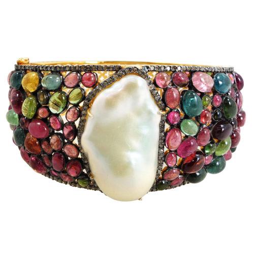 Multi Tourmaline Pearl Diamond Gemstone Bangle