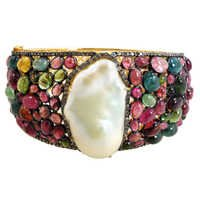 Multi Tourmaline Pearl Diamond Gemstone Bangle
