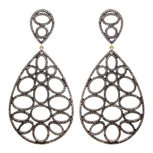 Silver Diamond Pave Wedding Earrings