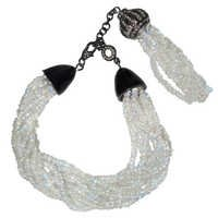 Diamond Moonstone Beads Tassel Bracelet