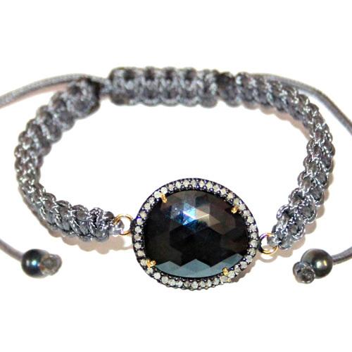 Diamond Studded Gemstone Macrame Bracelet