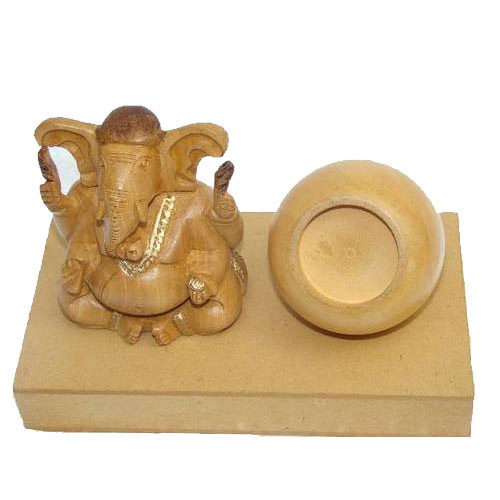 Wooden Ganesha with Pen Stand